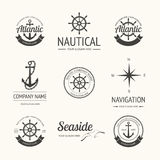 Set of retro nautical labels Royalty Free Stock Photo