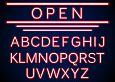 Set retro neon open signs background Stock Image