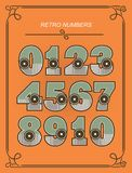 Set Of Retro Numbers. A set of numbers from zero to nine in retro style retro colors on a orange background Royalty Free Stock Photos