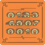 Set Of Retro Numbers. A set of numbers from zero to nine in retro style retro colors on a orange background Stock Images