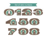 Set Of Retro Numbers. A set of numbers from zero to nine in retro style retro colors on a white background Stock Photography
