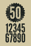 Set of retro numerals with letterpress effect. Vector illustration. Royalty Free Stock Photo