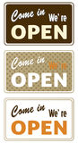 Set of retro open signs Stock Photos