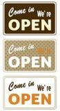 Set of retro open signs vector illustration