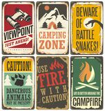 Set of retro outdoor camp signs and poster templates Stock Image