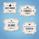 Set of retro paper banners with QUALITY GUARANTEED etc Royalty Free Stock Images