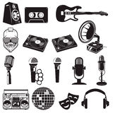 Set of retro party elements. Music instruments isolated on white. Background. Microphones icons. Design elements for logo, label, emblem, sign, brand mark Royalty Free Stock Photography