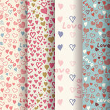Set of retro patterns with hearts Royalty Free Stock Image