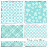 Set of retro patterns 7. Set of retro patterns with daisies, polka dots and gingham vector illustration