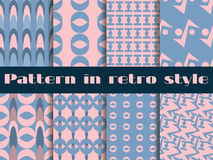 Set of retro patterns. 8 patterns. Rose quartz and serenity violet colors. Vector. Illustration royalty free illustration