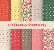 Set of retro patterns with polka dots. In retro style vector illustration