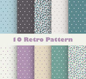 Set of retro patterns with polka dots. In retro style royalty free illustration