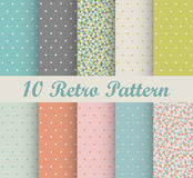 Set of retro patterns with polka dots. In retro style stock illustration