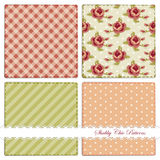 Set of retro patterns 9. Set of retro patterns with roses, polka dots, stripes  and gingham Royalty Free Stock Photo