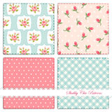 Set of retro patterns 6. Set of retro patterns with shabby chic roses, polka dots and gingham stock illustration