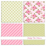 Set of retro patterns 5. Set of retro patterns with shabby chic roses, polka dots,gingham and stripes royalty free illustration