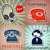 Set of retro phone banners Royalty Free Stock Image