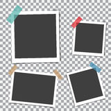 Set of retro photo frame with shadow on sticky tape on a transparent background Royalty Free Stock Images