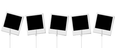Set of retro photo frames with holders for photo on the white ba vector illustration