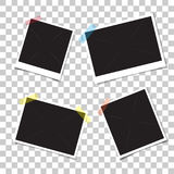 Set retro photo frames with shadow on adhesive sticky tape scotch. Stock Image