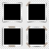 Set of Retro photo frames with shadows. Vector illustration Royalty Free Stock Image