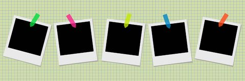 Set of retro photo frames with stickers on the old notebook back. Ground. Vector illustration Stock Photography