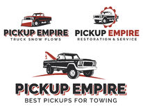 Set of retro pickup trucks logos, emblems and icons. Royalty Free Stock Images