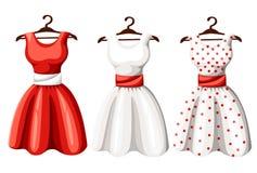 Set retro pinup kobiety śliczne suknie Skrót i kolor polki kropki projekta dama długa elegancka czerni, czerwieni i bielu, ubiera ilustracji