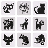 Set of  retro pixel cat in simple minimal black style. Icon set on white background. Elements for company logos, print products, page and web decor. Vector Royalty Free Stock Image