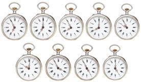Set of retro pocket watches with different time Royalty Free Stock Images