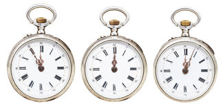Set of retro pocket watches with midnight time Royalty Free Stock Photography
