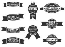 Set of 9 Retro Premium Quality Labels and Badges Royalty Free Stock Photos