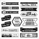 Set retro promocja rabata gwaranci i sprzedaży etykietki sztandaru etykietki odznaki majcheru faborek w czarny i biały Obraz Stock