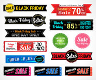 Set of retro promotion discount sale and guarantee tag banner la. Set of retro promotion discount sale tag banner label badge sticker ribbon for Black Friday Royalty Free Stock Photos