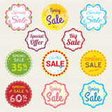 Set of retro promotion discount sale and guarantee tag banner Stock Photos
