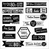 Set of retro promotion discount sale and guarantee tag banner label badge sticker ribbon in black and white Stock Image