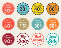Set of retro promotion discount sale and guarantee tag banner label badge sticker Stock Photography