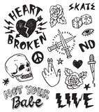 A set of retro punk inspired grunge doodles. A set of grunge doodles and badges to draw or embroider on to fashion items like denim jackets. Vector illustrations royalty free illustration