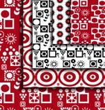 Set Retro red geometric patterns. Royalty Free Stock Photo
