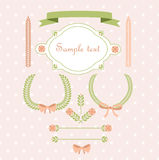 Set of retro ribbons and frames.  Stock Photos