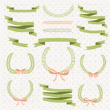 Set of retro ribbons and frames.  Stock Images