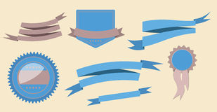 Set retro ribbons and label vector illustration Royalty Free Stock Photo