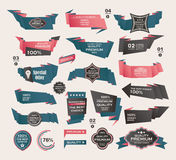 Set of Retro ribbons and labels ,Origami banners Stock Image