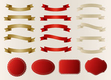 Set of retro ribbons, labels, stickers and tags. Vector illustration Stock Photo