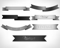 Set of retro ribbons. And labels. Vector illustration Stock Photos