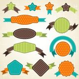Set of retro ribbons and labels. Vector. Illustration Stock Image