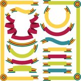 Set of retro ribbons and labels. Vector. Illustration Stock Photos