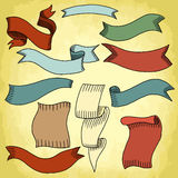 Set of retro ribbons Stock Photo