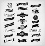 Set of retro ribbons and labels. Retro ribbons and labels. Vector illustration/ old style Stock Photography