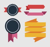 Set of retro ribbons and labels Stock Photography